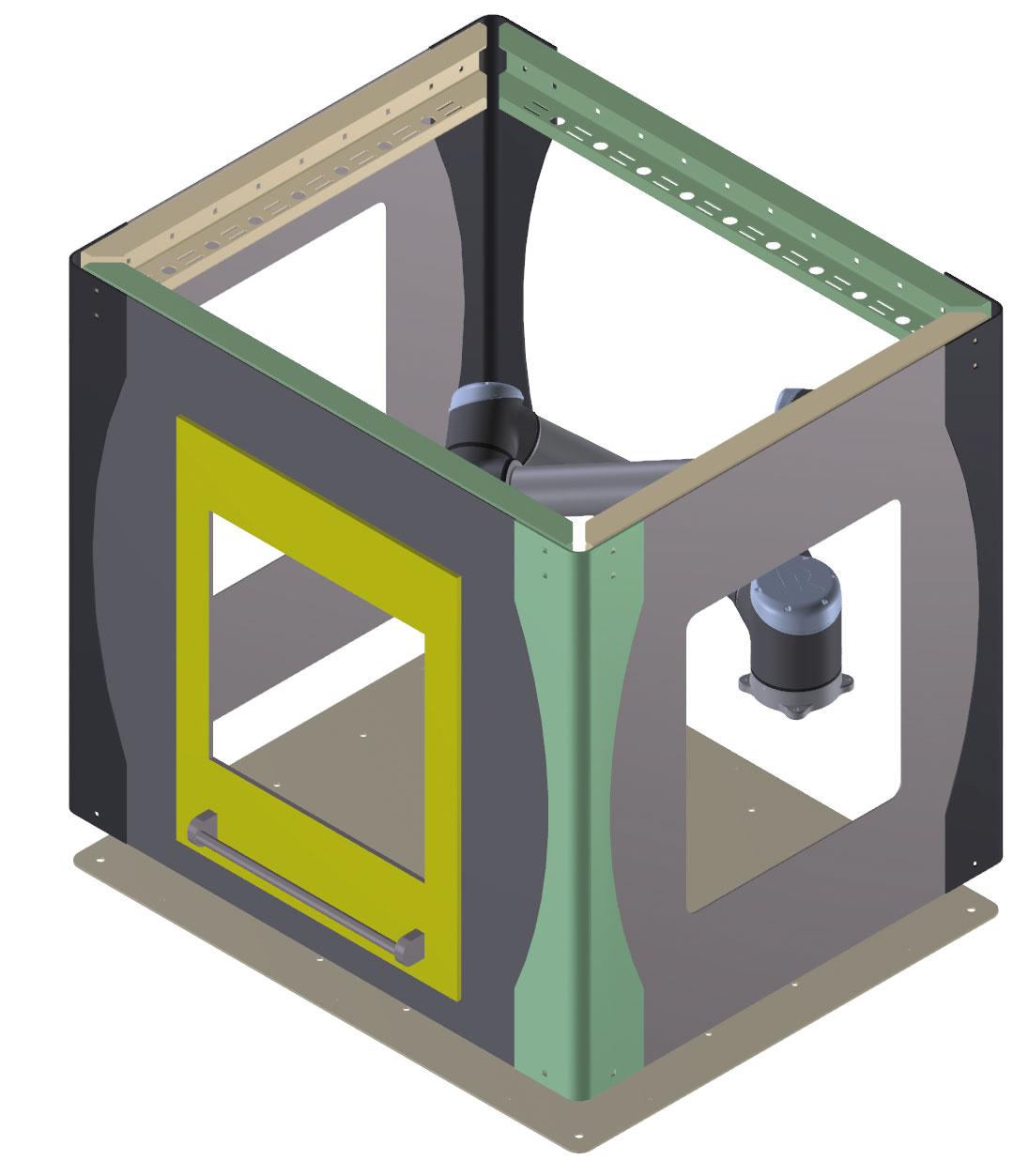 Schutzeinhausung des Flex Load Systems mit Tür